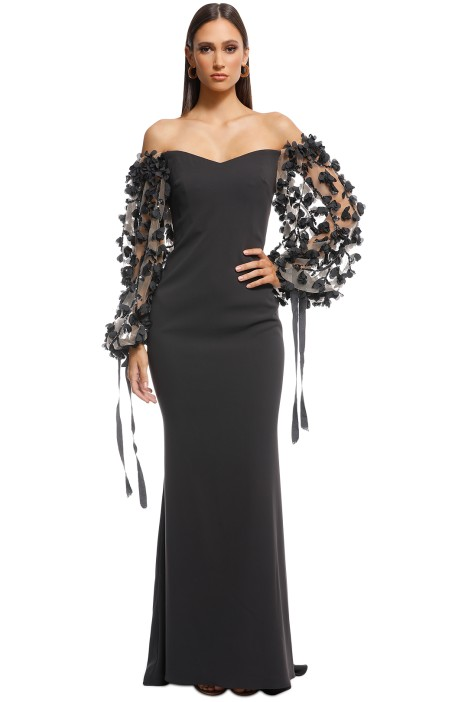 29158d99bc09 Badgley Mischka - Odessa Off Shoulder Gown - Charcoal - Front