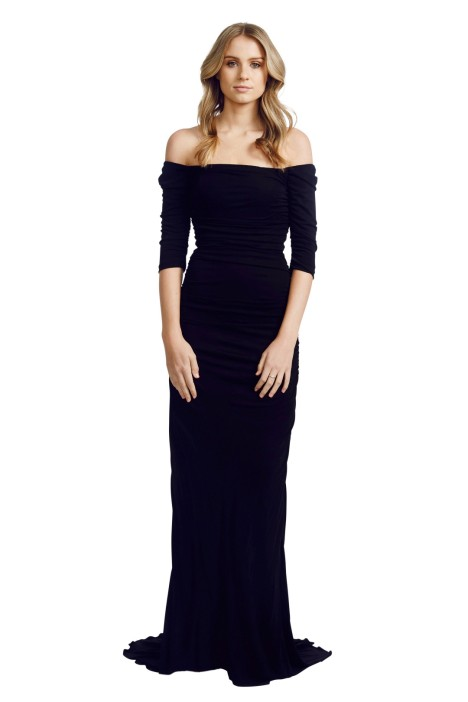 Badgley Mischka - Off Shoulder Gown - Black - Front