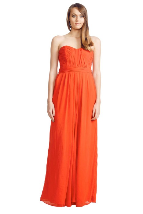 Badgley Mischka - Sweetheart Bodic Gown - Front - Orange Red