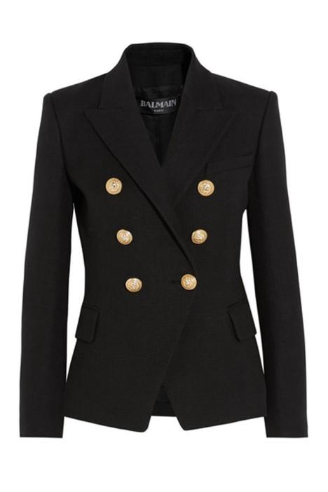 Balmain - Double-Breasted Basketweave Cotton Blazer - Black - Front