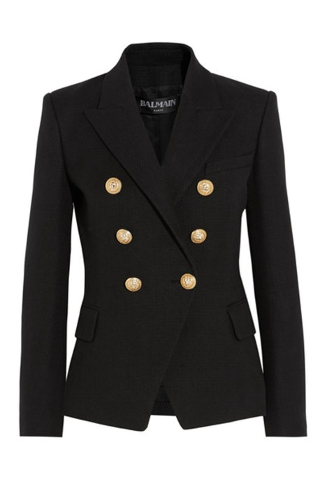 Balmain - Double-Breasted Basketweave Cotton Blazer - Front