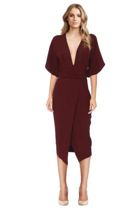 Bec & Bridge - Bisou Bisou Dress - Maroon - Front