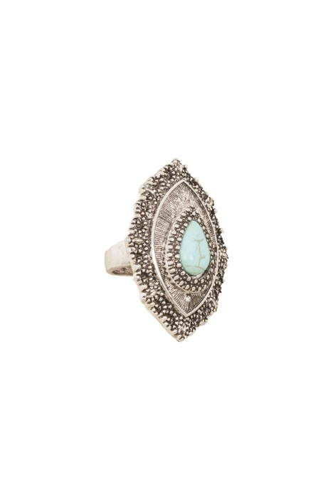 Adorne - Boho Stone Teardrop Ring - Turquoise Silver - Front