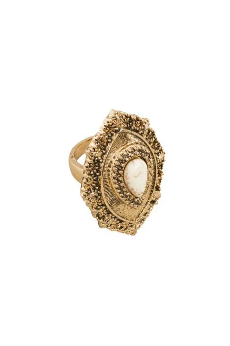 Adorne - Boho Stone Teardrop Ring - Natural Gold - Front