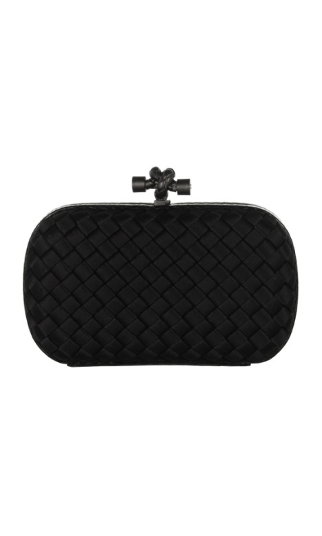 Bottega Veneta - The Knot watersnake-trimmed intrecciato satin clutch - Front - Black