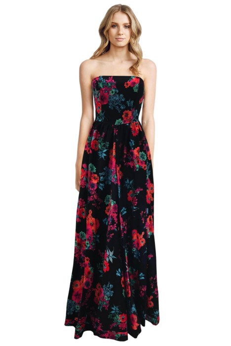 Bronx and Banco - Floral Prints Dress - Black Print - Front