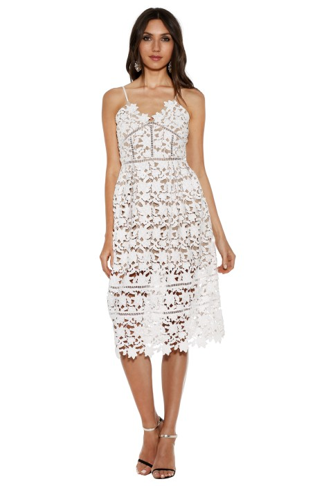 Bronx and Banco - White Florence Midi Dress - White - Front