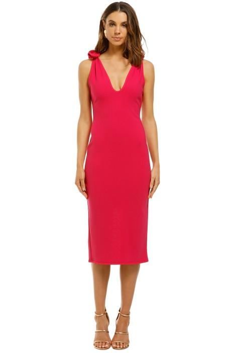 By-Johnny-V-Neck-Bow-Shoulder-Dress-Pink-Front