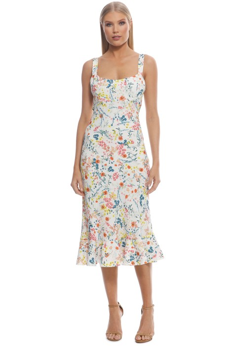 By Johnny - Ditsy Frill Bias Midi Dress - Ivory Floral - Front