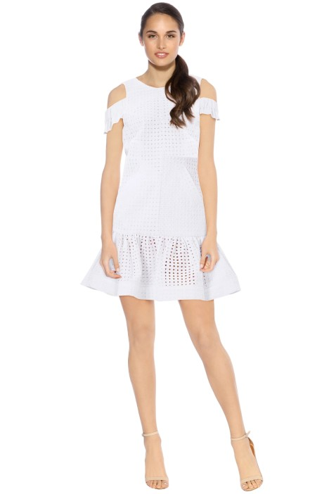 By Johnny - Marthe Lace Elastic Frill Mini Dress - White - Front