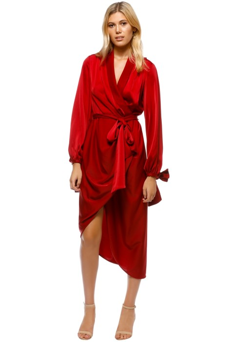 C_MEO Collective - Influential LS Dress - Crimson - Front