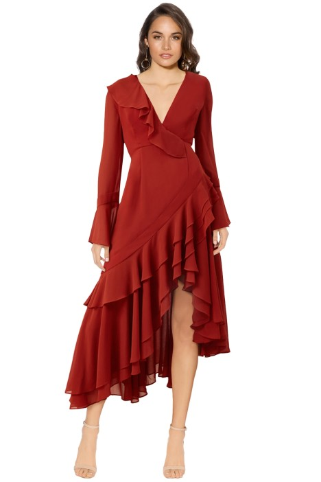 C/MEO Collective - Allude Long Sleeve Dress - Red - Front