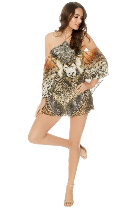 Camilla - All Eyes On You Halter Neck Layered Playsuit - Print - Front