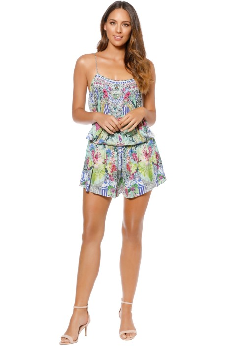 Camilla - Bahia Bliss Shoestring Strap Playsuit - Front