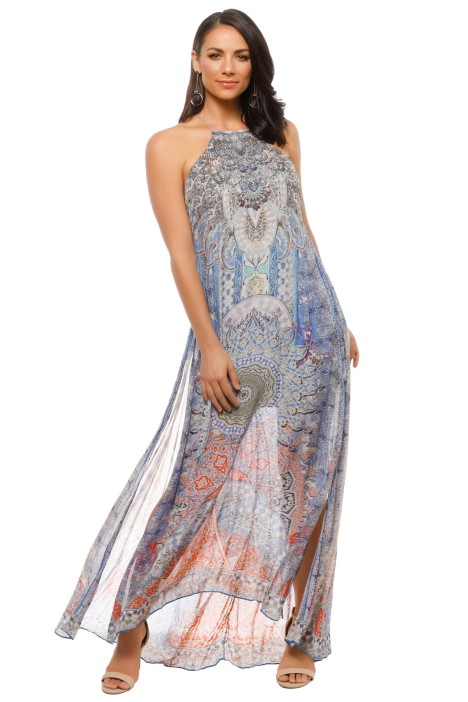 Camilla - Concubine Realm Sheer Overlay Dress - Blue - Front