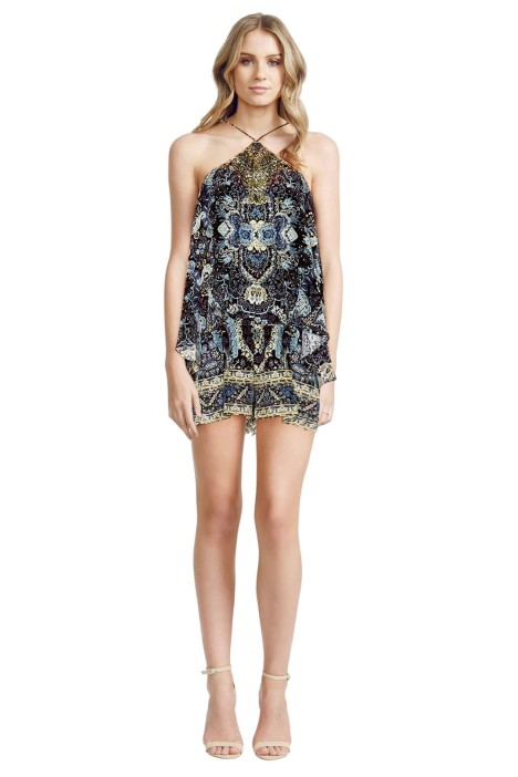 Camilla - Constantinople Halter Neck Layered Playsuit - Front