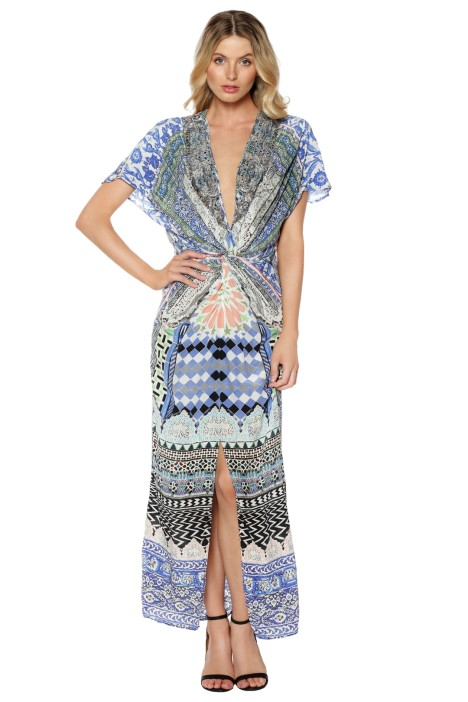 Camilla - Courtyard of Maidens Split Front Twist Dress - Prints - Front