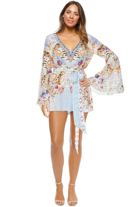 Camilla - Girl Next Door Wide Sleeve Playsuit - Blue Print - Front