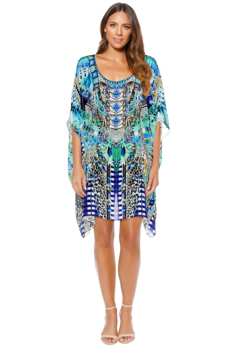 Camilla - Leave Me Wild Short Round Neck Kaftan - Prints - Front