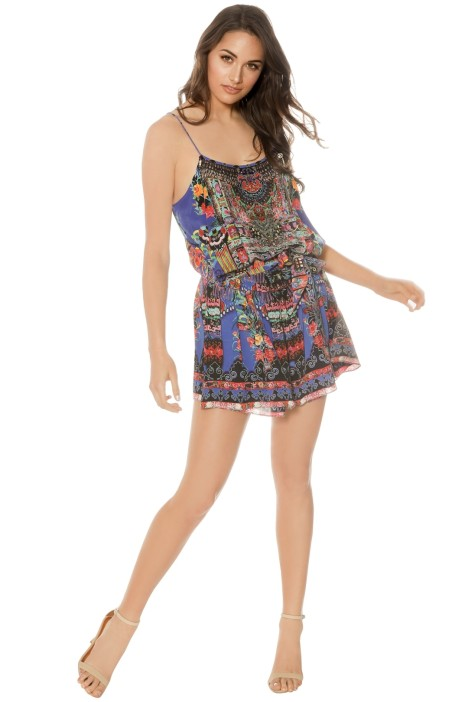 Camilla - Pretty Precession Shoestring Playsuit - Prints - Front