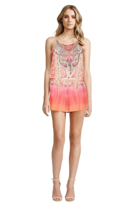 Camilla - Sea Serpent Shoestring Strap Playsuit - Front