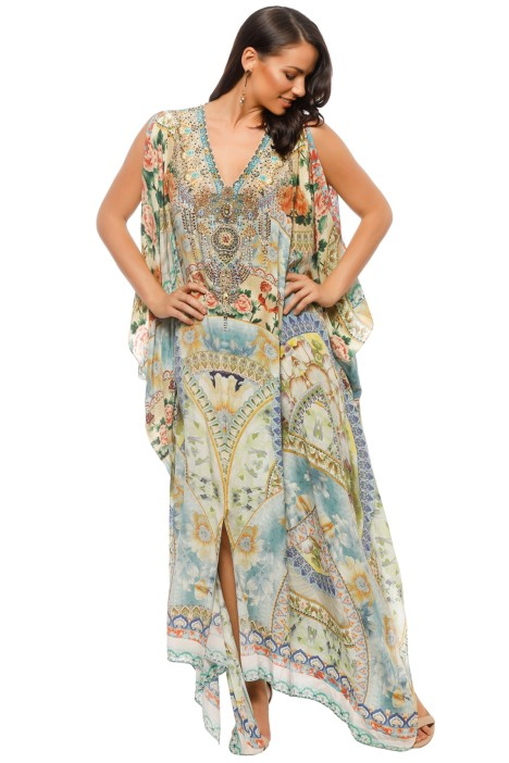 Camilla - Sign of Peace Split Front Sleeve Kaftan - Front
