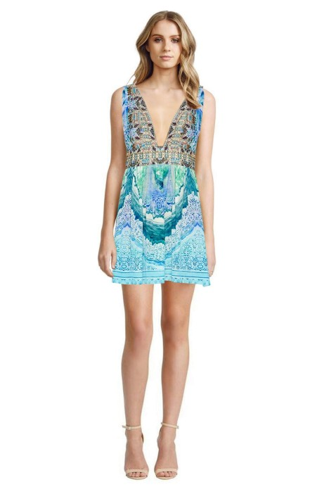 Camilla - Topkapi Sky V-Neck Short Dress with Tie - Front