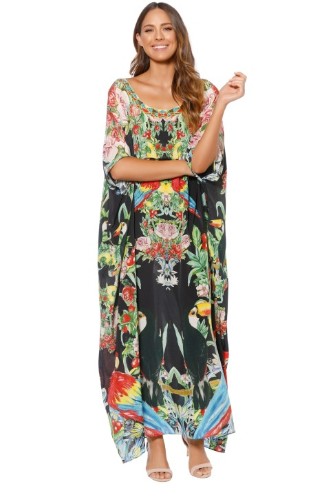 Camilla - Toucan Play Round Neck Kaftan - Front