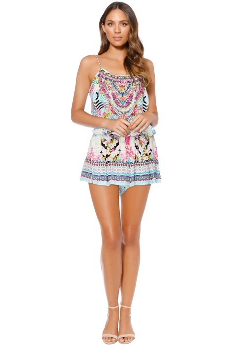 Camilla - Under My Shoestring Strap Playsuit - Front