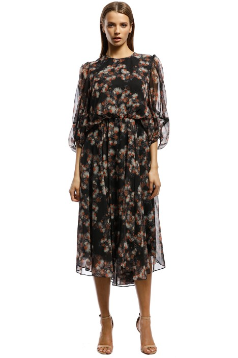 Camilla and Marc-Clio Crew Neck Dress-Black Floral-Front