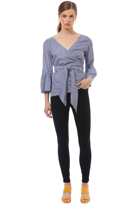 Camilla and Marc - Ashworth Wrap Top - Blue Stripe - Front
