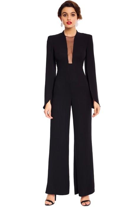 Carla Zampatti - Black Crepe Titania Jumpsuit - Black - Front