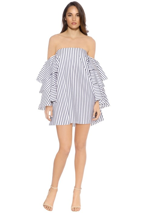 Caroline Constas - Carmen Dress - White Stripes - Front