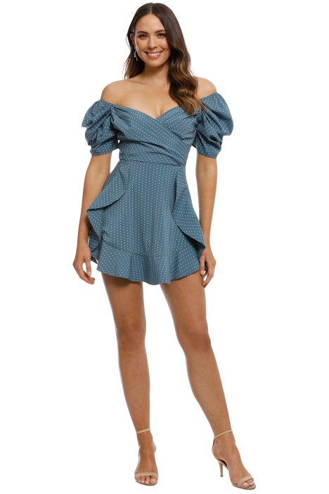 CMEO Collective - Lift Me Dress - Steel Blue Spot - Front