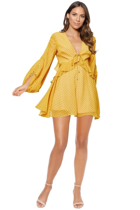 CMEO Collective - Light Up Long Sleeve Dress - Yellow - Front