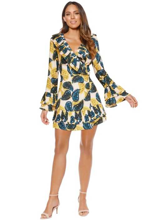 CMEO Collective - Sensory Dress - Green Yellow Print - Front