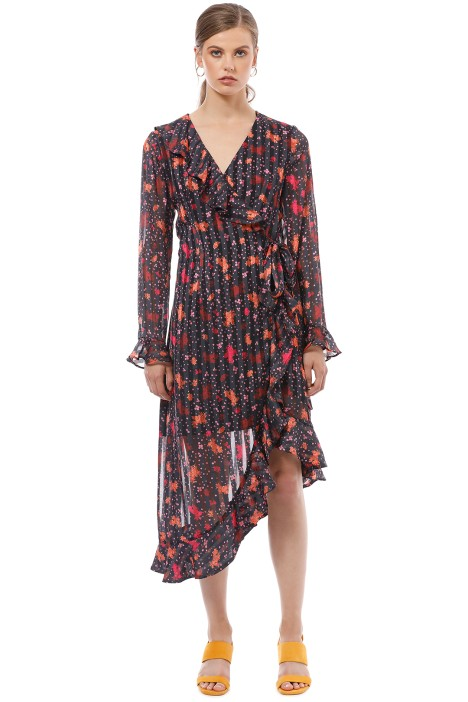 CMEO Collective - Significant Midi Dress - Black Floral - Front