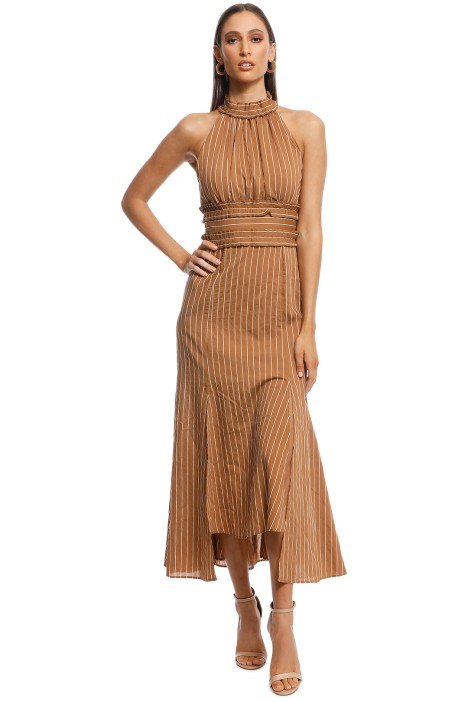 CMEO Collective - Suffuse Midi Dress - Tan Stripe - Front