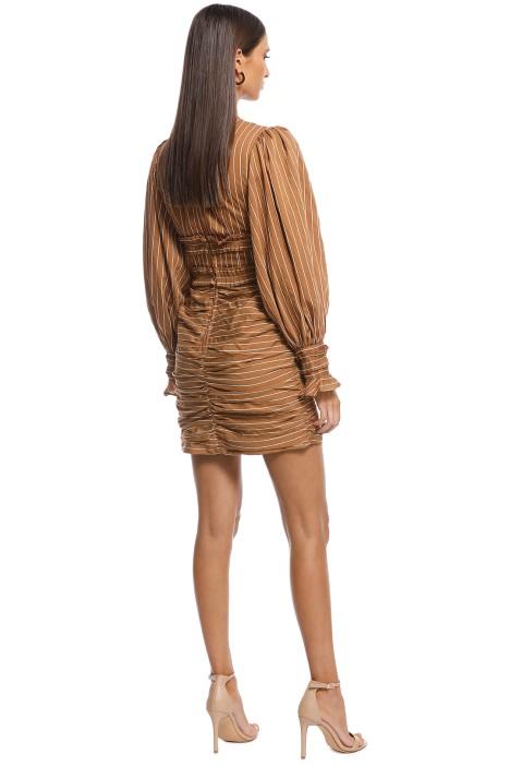 6b9e02a510516 CMEO Collective - Suffuse Mini Dress - Tan Stripe - Brown - Back