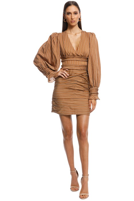 CMEO Collective - Suffuse Mini Dress - Tan Stripe - Brown - Front