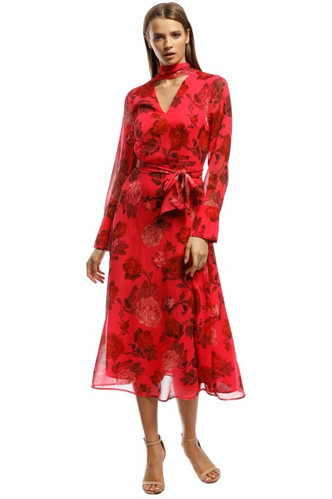 CMEO Collective - Variation LS Midi Dress - Red - Front