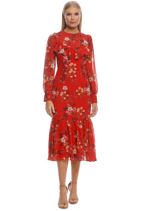 Cooper St - Disco Long Sleeve Fitted Midi Dress - Red - Front