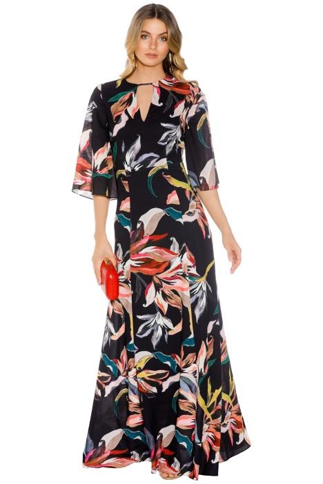 Cooper St - Jourdan Lace Up Back Gown - Black Floral - Front