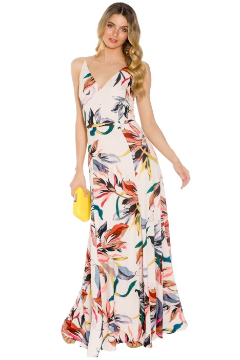 Cooper St - Natalia V Neck Gown - Cream Print - Front