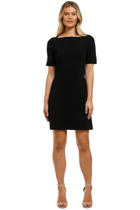 Country-Road-Compact-Knit-Short-Sleeve-Dress-Black-Front