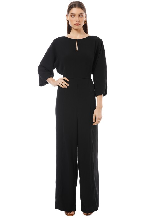 Cue - Crepe Magyar Sleeve Jumpsuit - Black - Front