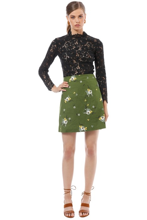 Cue - Floral Pique Skirt - Green - Front