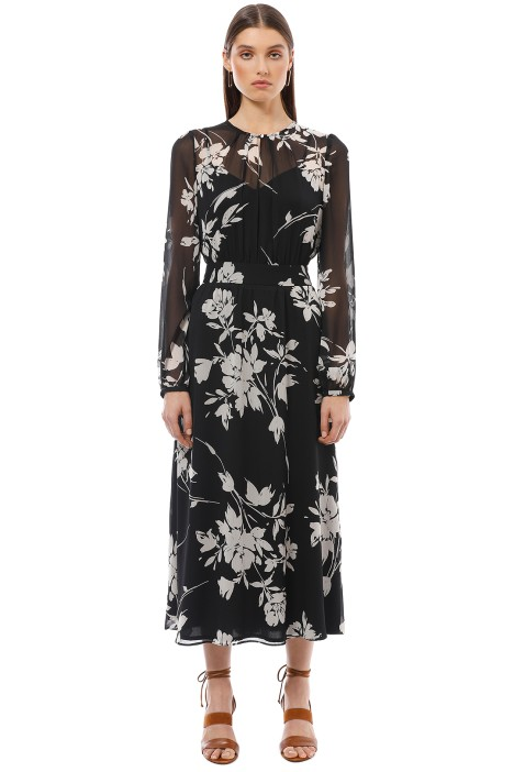 Cue - Monochrome Floral Midi Dress - Black - Front