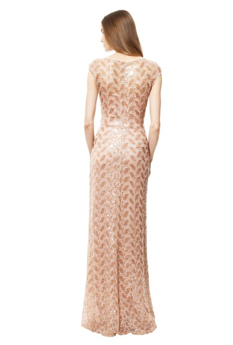f2117e532005 Blush Sequin Gown by David Meister for Rent | GlamCorner