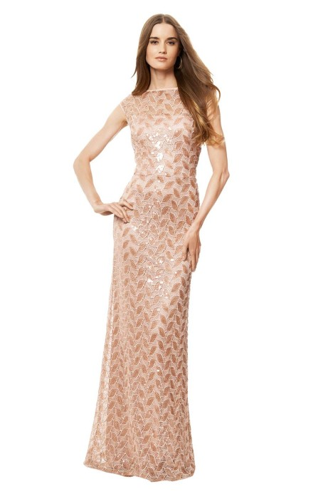 David Meister - Blush Sequin Gown - Pink - Front